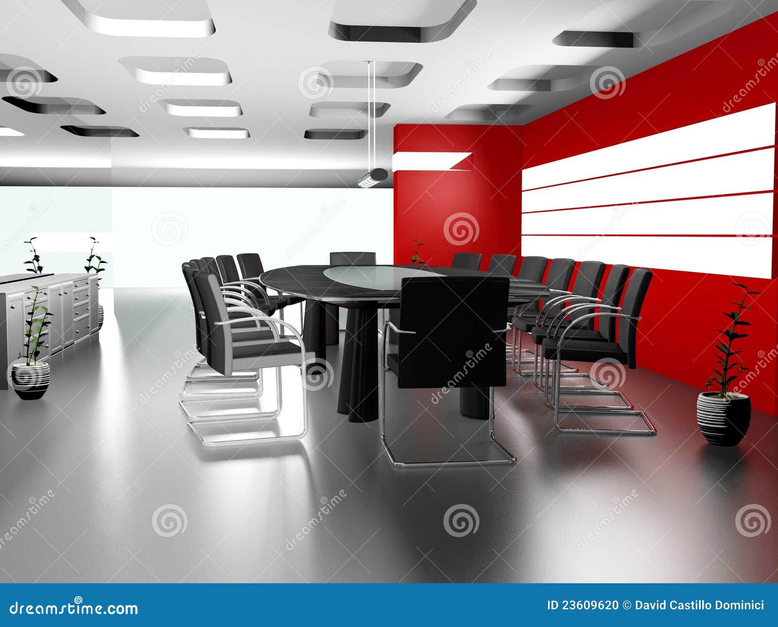 Interior de la oficina moderna 3d foto de archivo imagen for Interior oficina