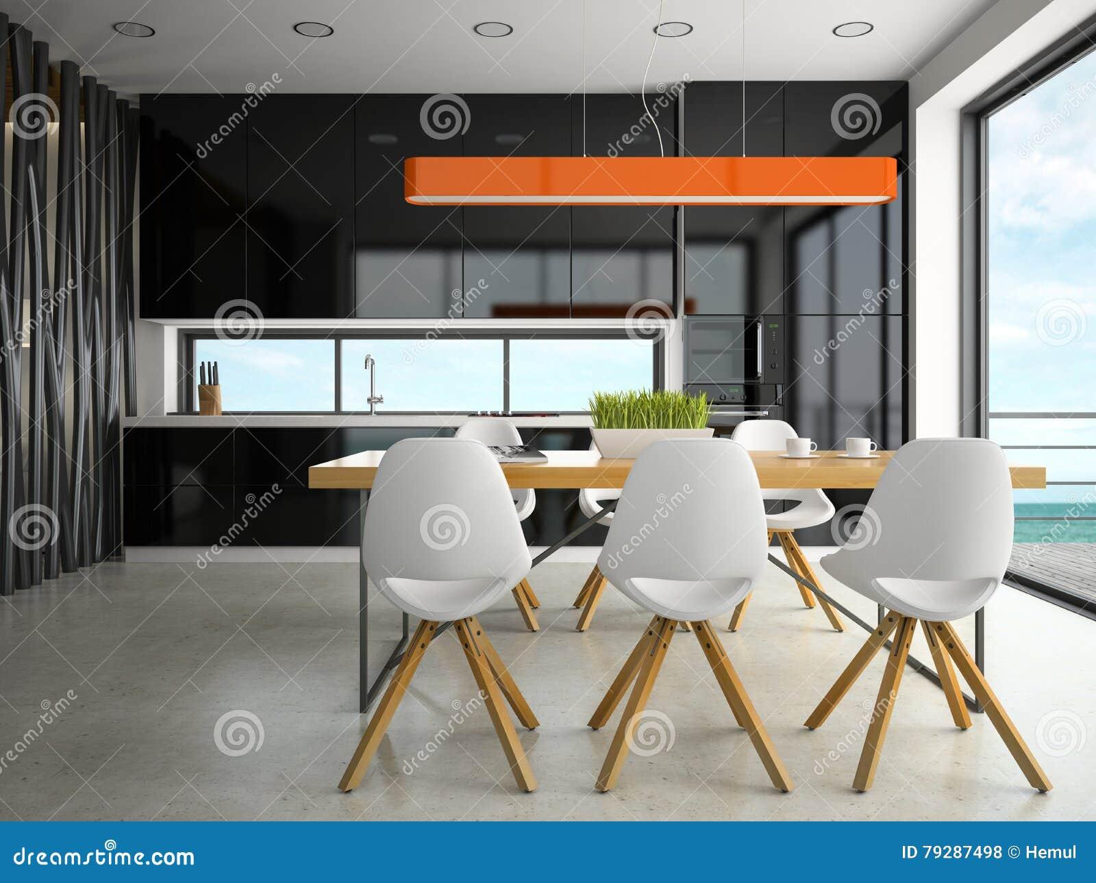 Interior De La Representación De La Cocina 3D Del Diseño Moderno ...