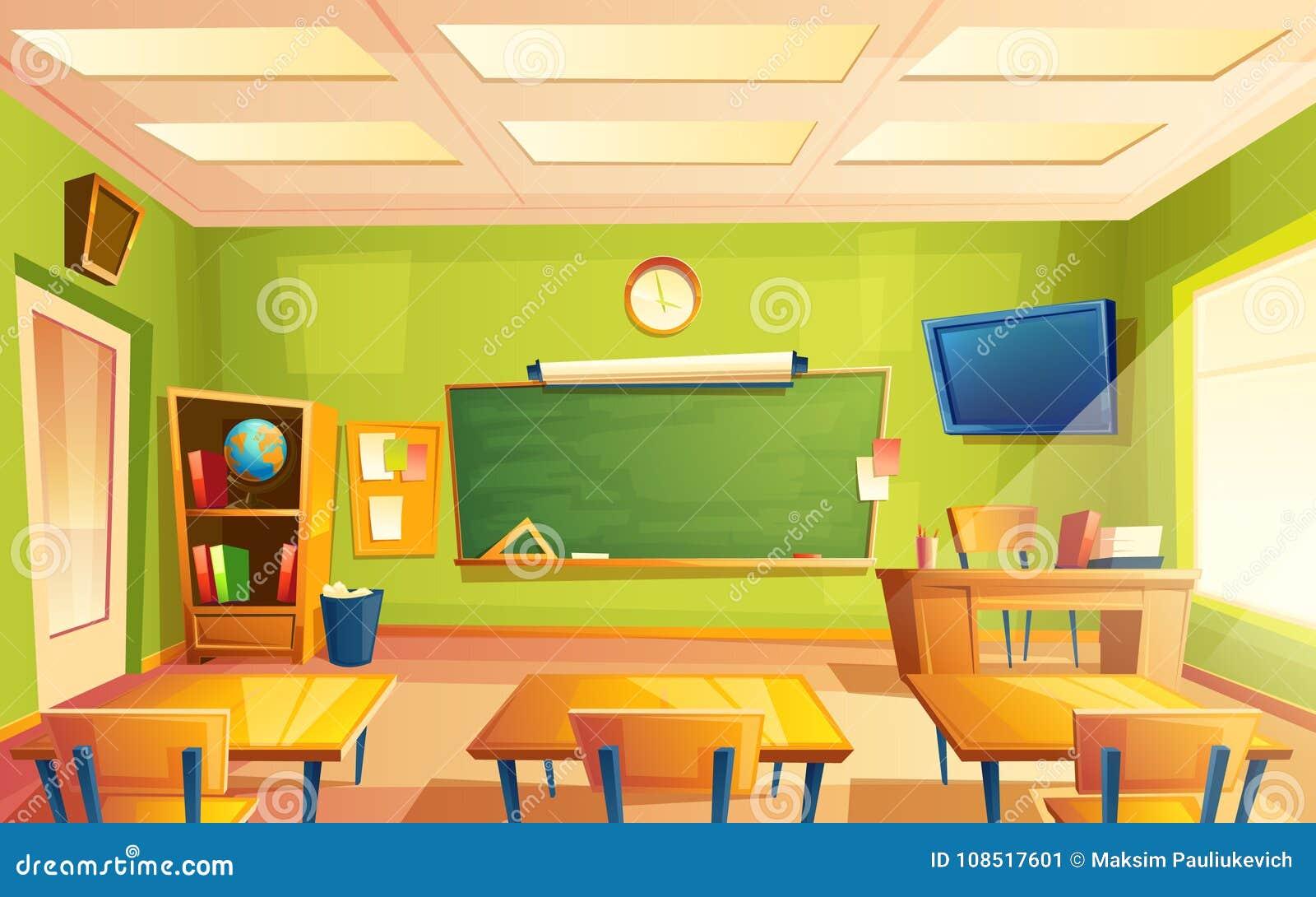 Interior de la sala de clase de la escuela del vector, sitio de entrenamiento Universidad, concepto educativo, pizarra, muebles d
