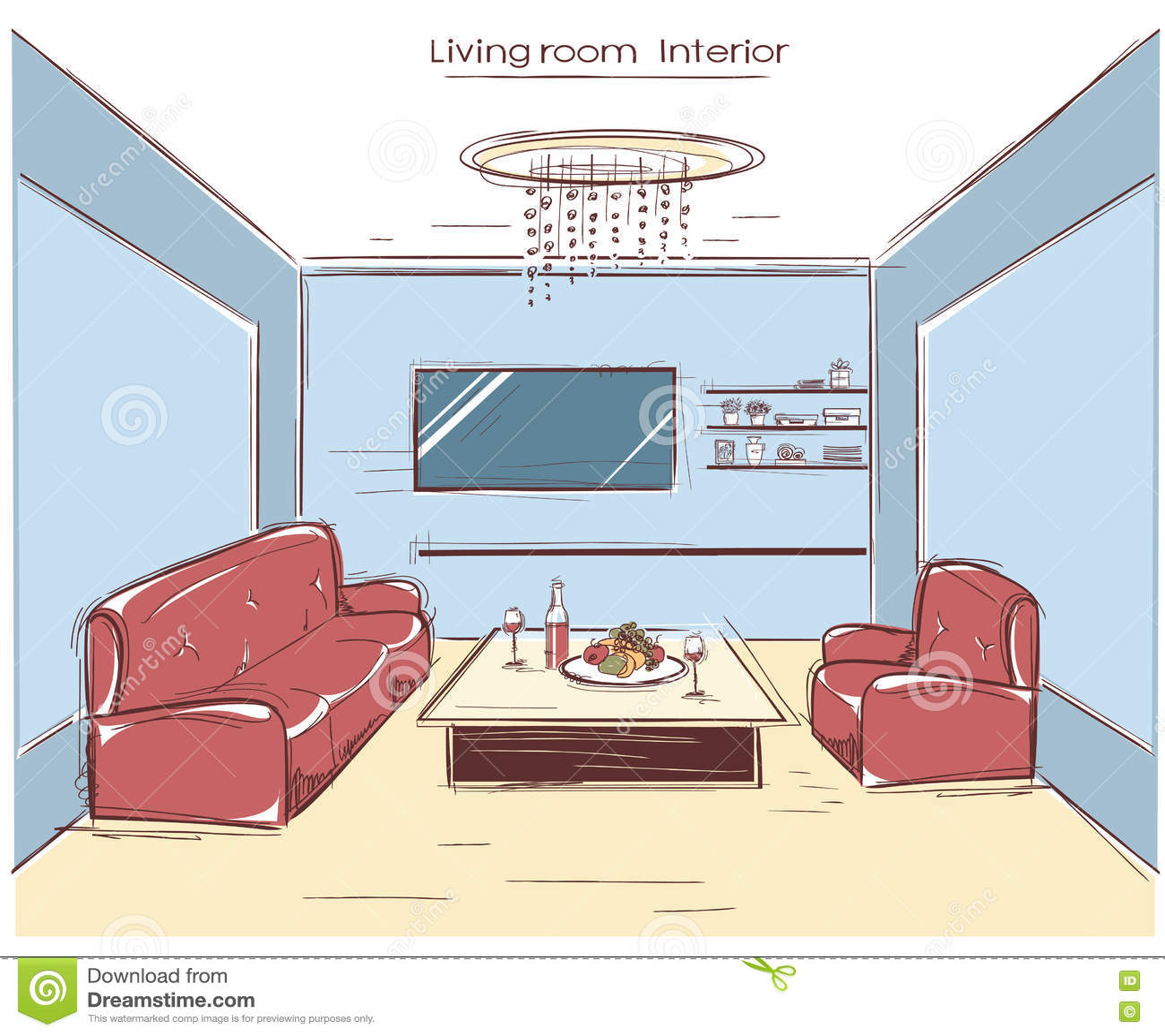 Interior de la sala de estar ejemplo del dibujo de la mano for Sala de estar dibujo