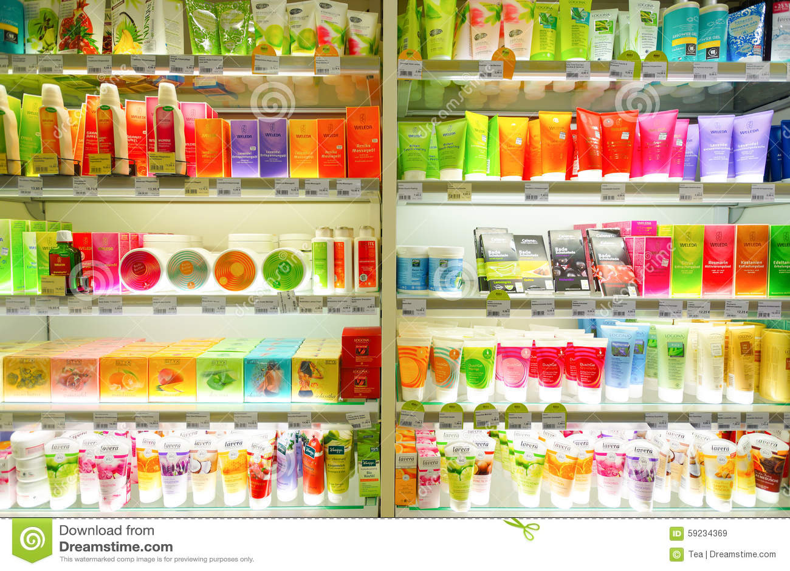 Interior de la tienda de los cosméticos