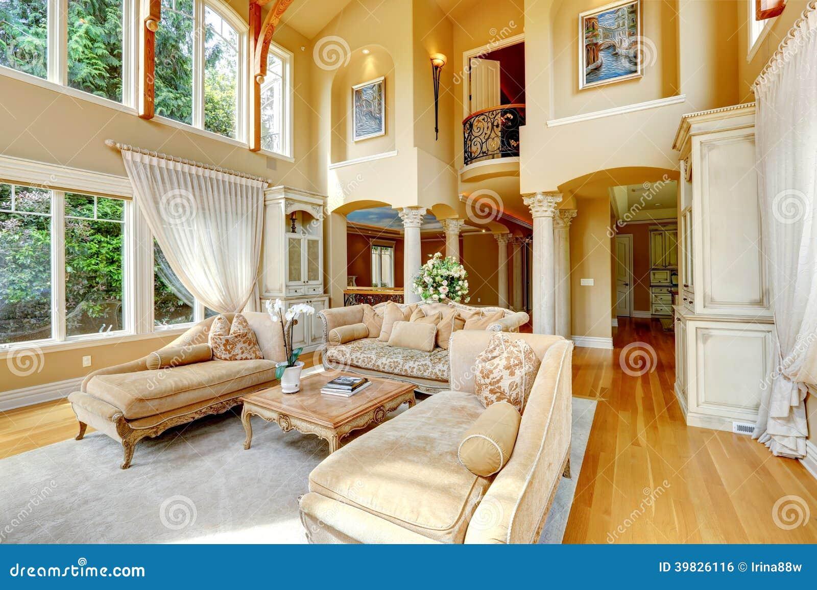 Interior de lujo de la casa sala de estar foto de archivo - Fotos de casa de lujo ...