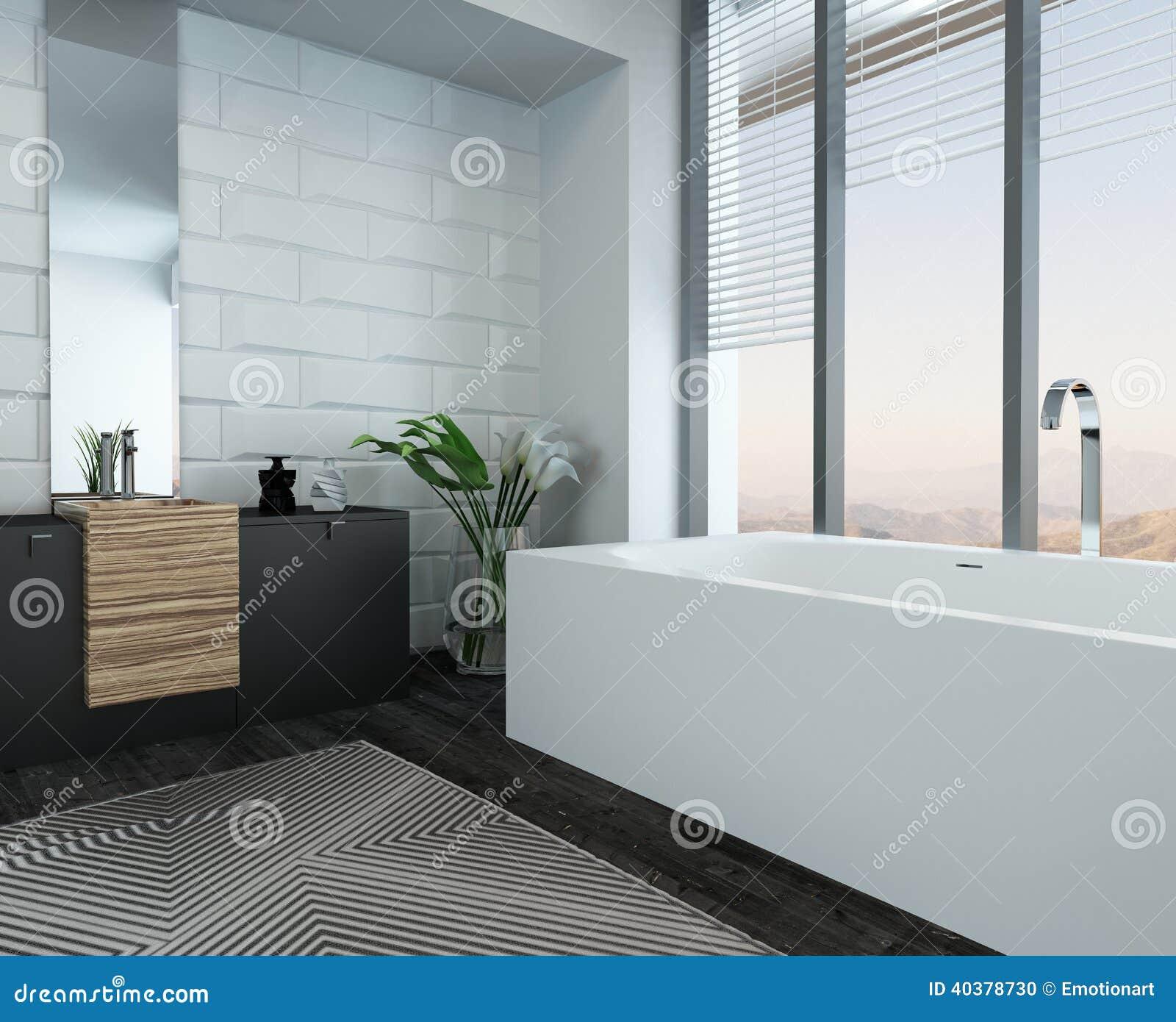 Interior de lujo moderno del cuarto de ba o con la ba era for Cuarto bano moderno