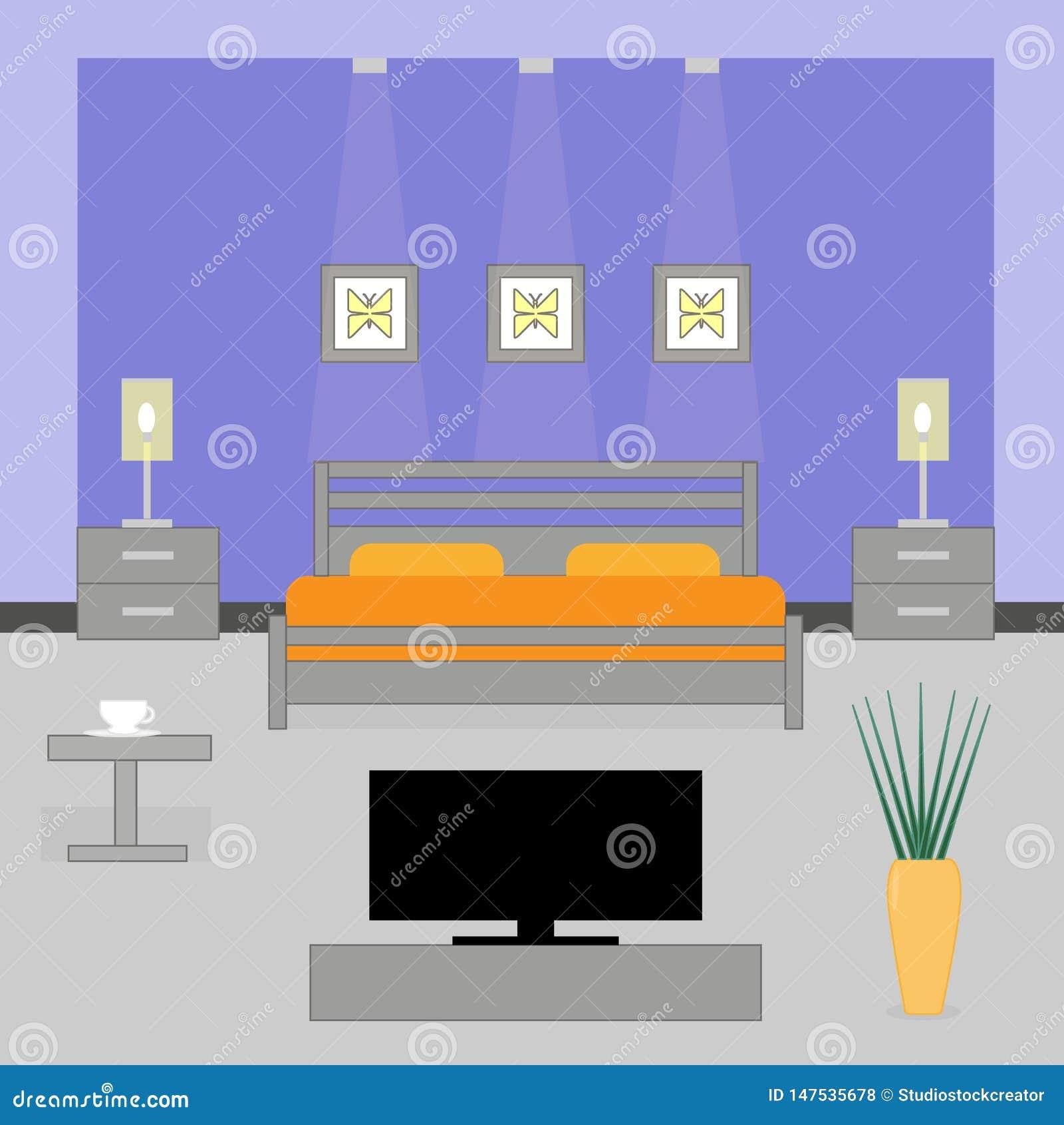 Interior de um quarto com tevê