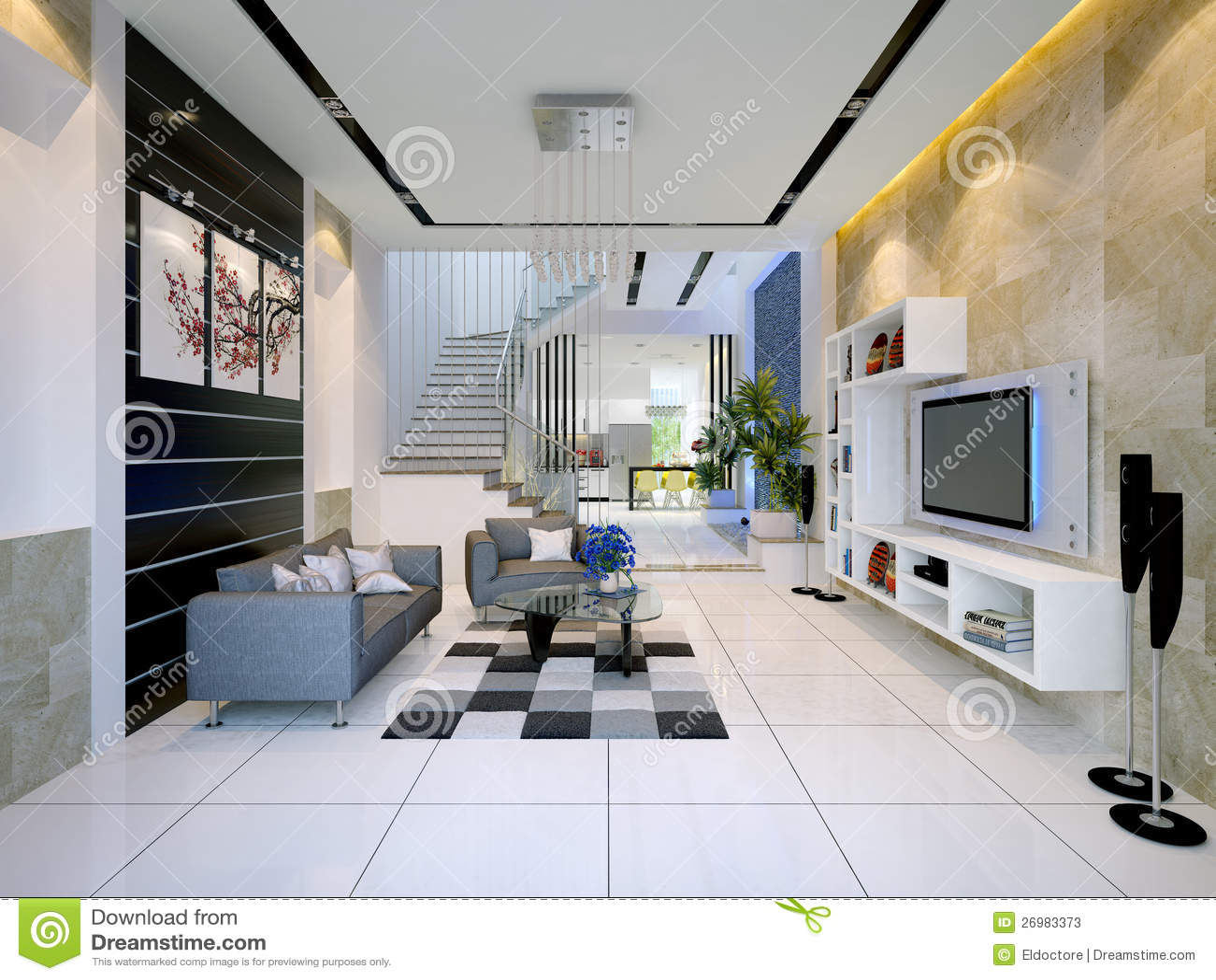 Interior de uma casa moderna com sala de visitas imagem de for Salas modernas de casas