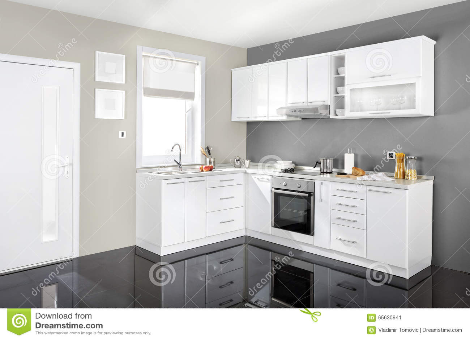 Interior de uma cozinha moderna mob lia de madeira simples e limpo foto de - Modele de cuisine simple ...