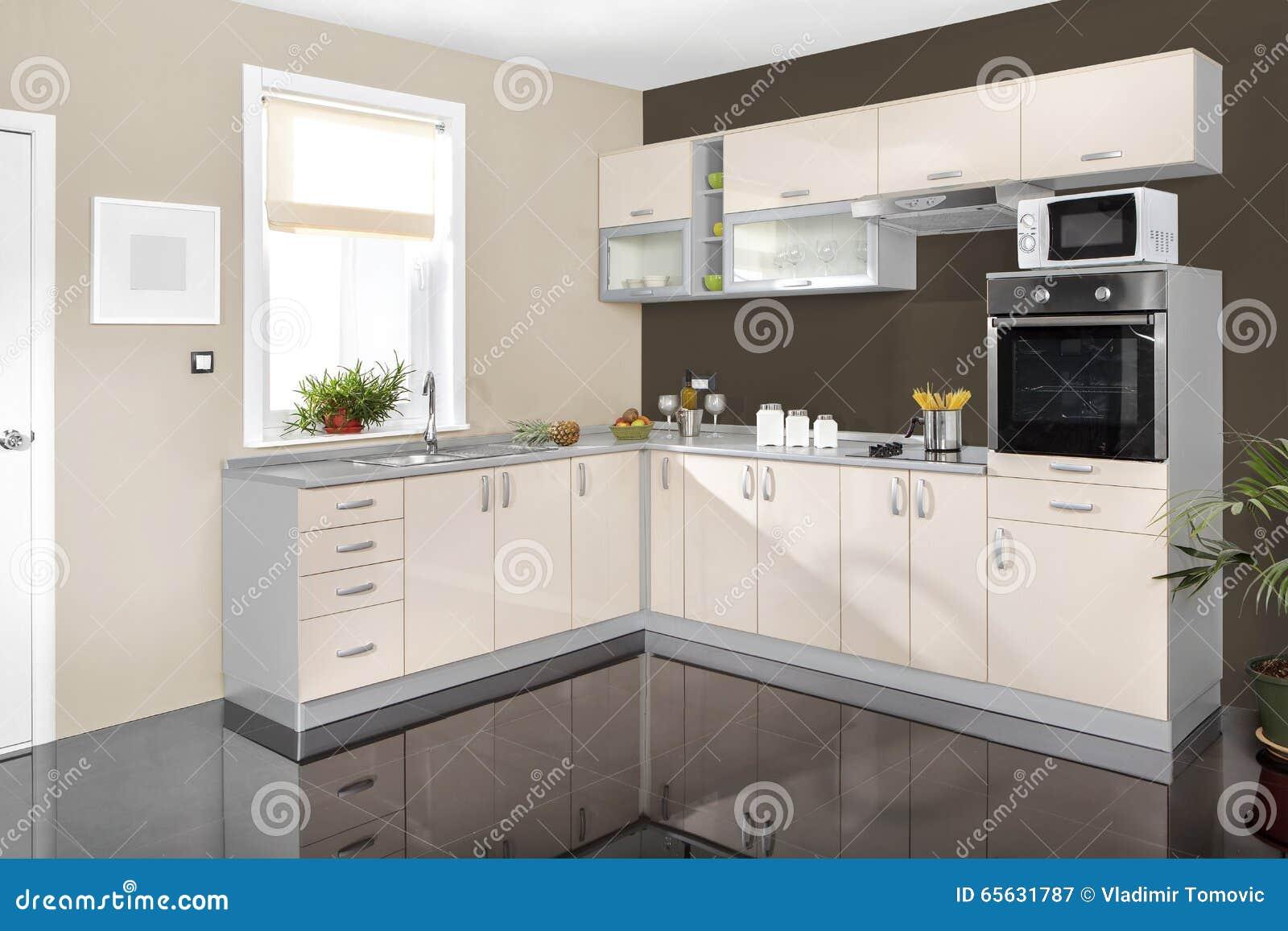 Interior De Uma Cozinha Moderna Mob Lia De Madeira Simples E Limpo