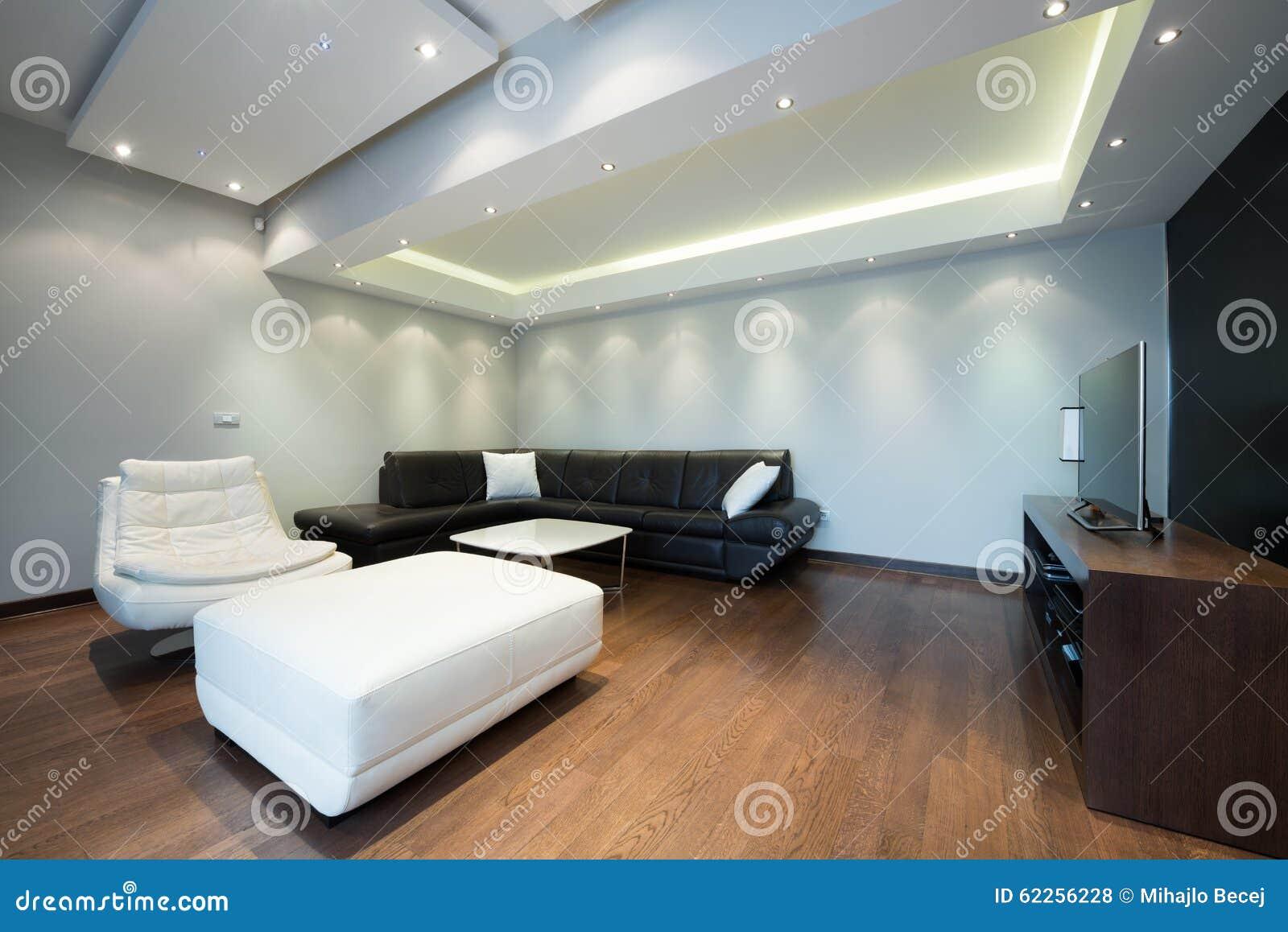 Interior de uma sala de visitas luxuosa com luzes de teto bonitas