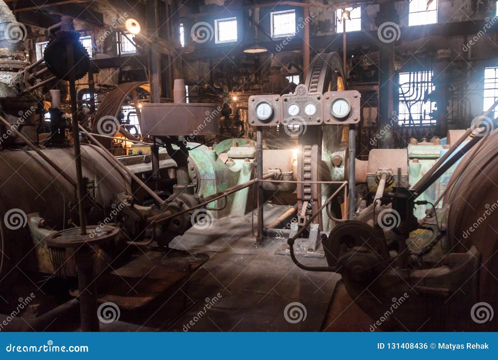 Interior de una fábrica anterior de la carne en la batalla Bentos