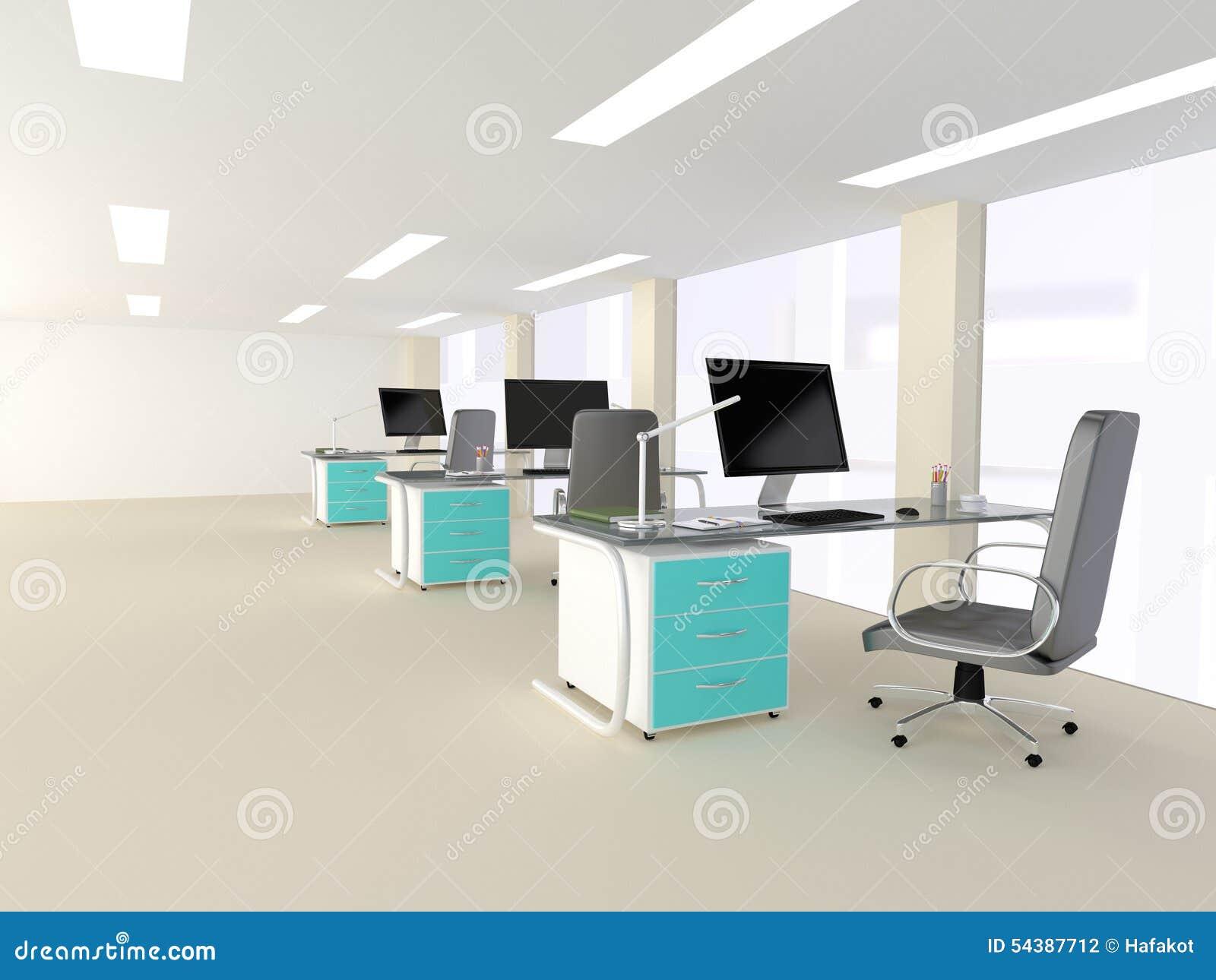 Interior de una oficina minimalista moderna brillante foto for Escritorios de oficina minimalista