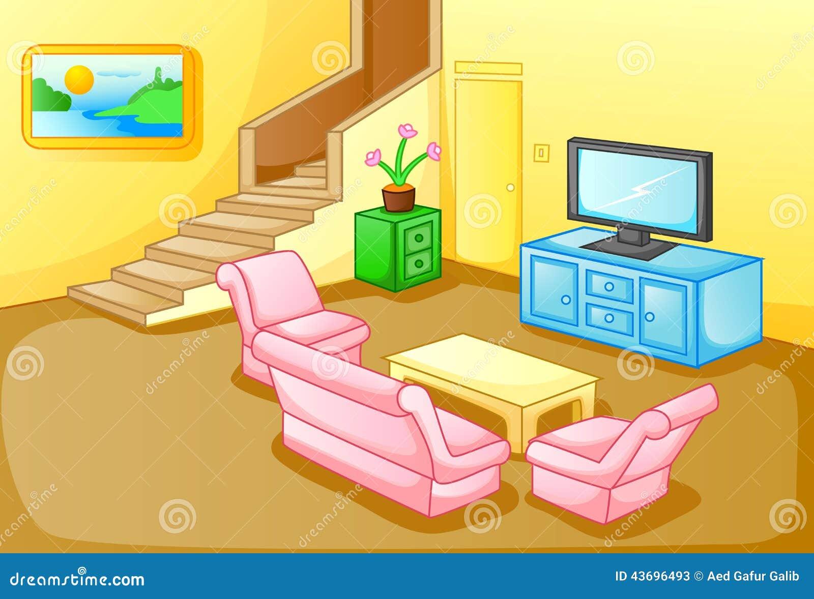 Interior de una sala de estar de la casa ilustraci n del for Living room y sus partes