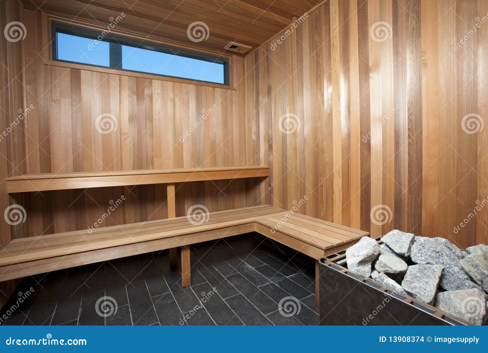 Interior De Una Sauna De Madera Foto De Archivo Imagen De Sitio - Sauna-madera