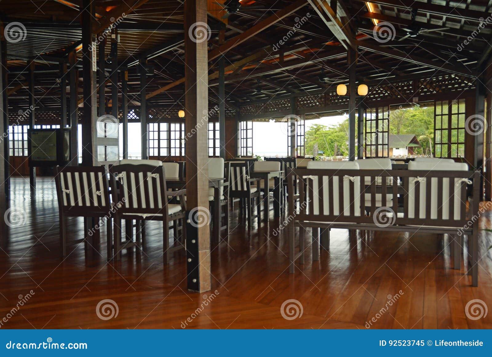 interior decor of luxury tropical island resort restaurant stock