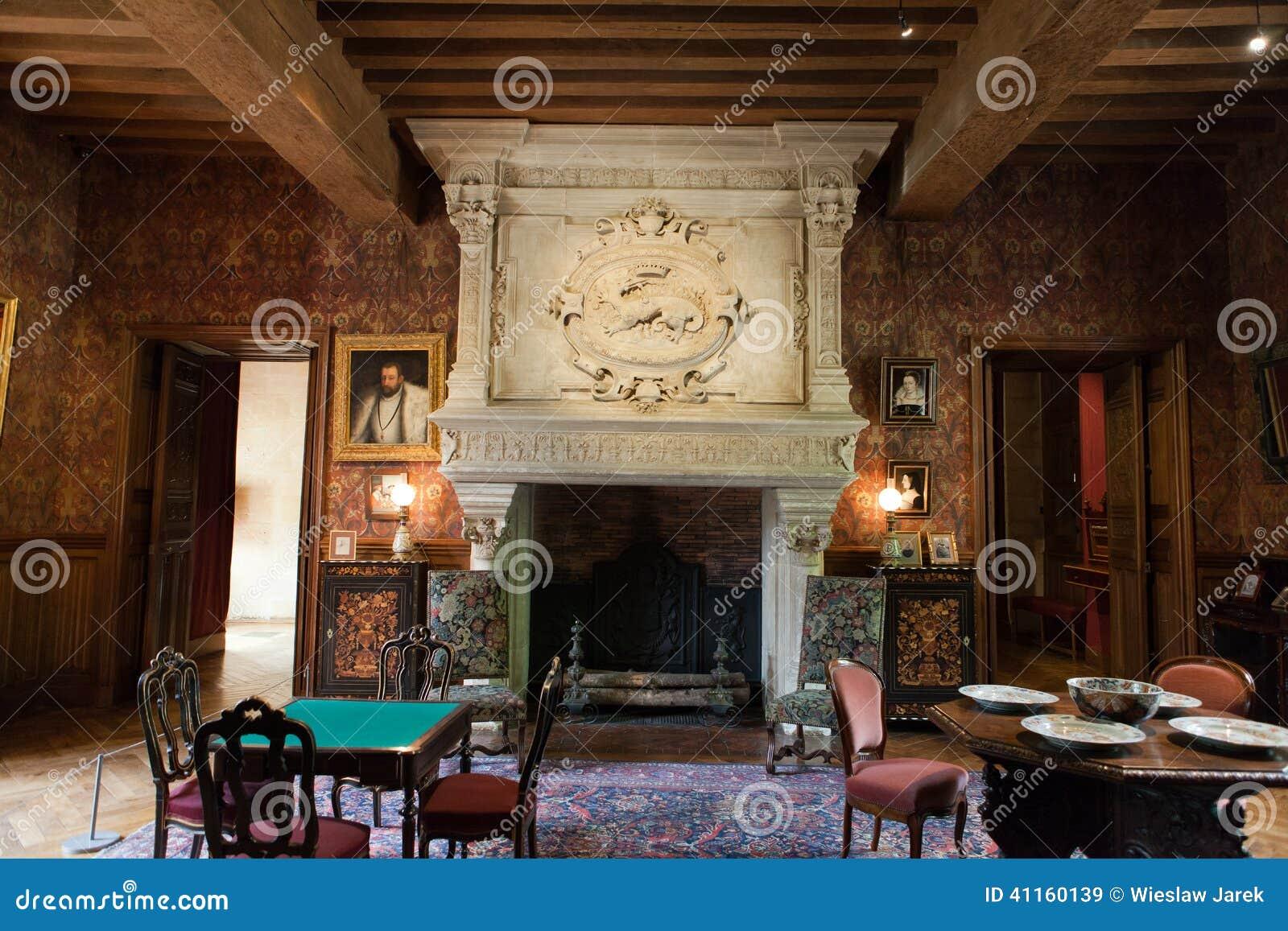 Interior decoration in castle of azay le rideau stock for Le decor interieur
