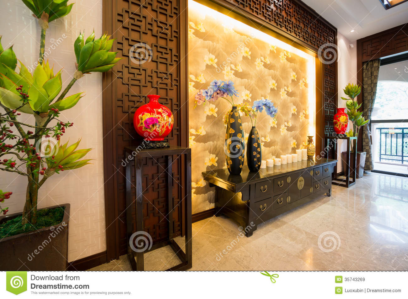 Interior decoration of chinese style stock image image for Asian style house decorating