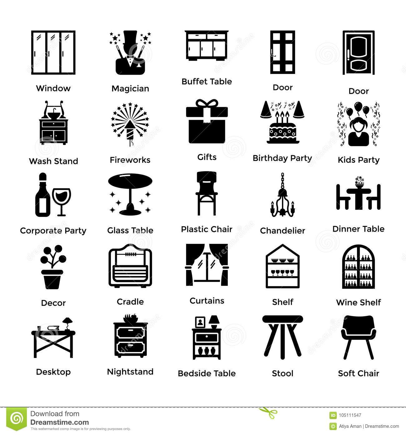 Set Of Interior And Decoration Glyph Icons 3 Stock