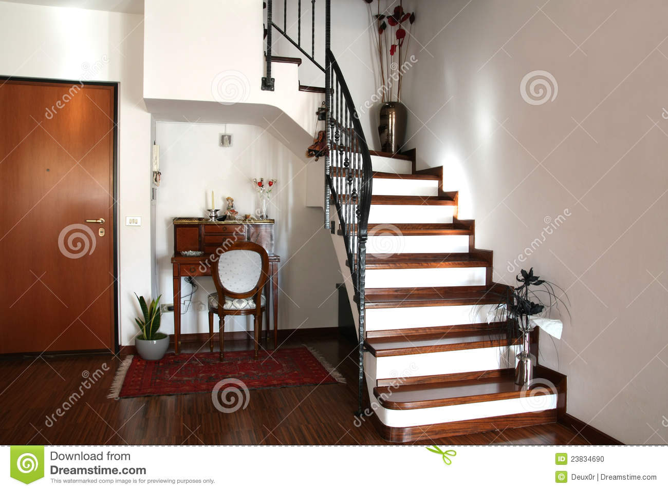 Interior Decoration Of A Room With Stairs And Desk Stock
