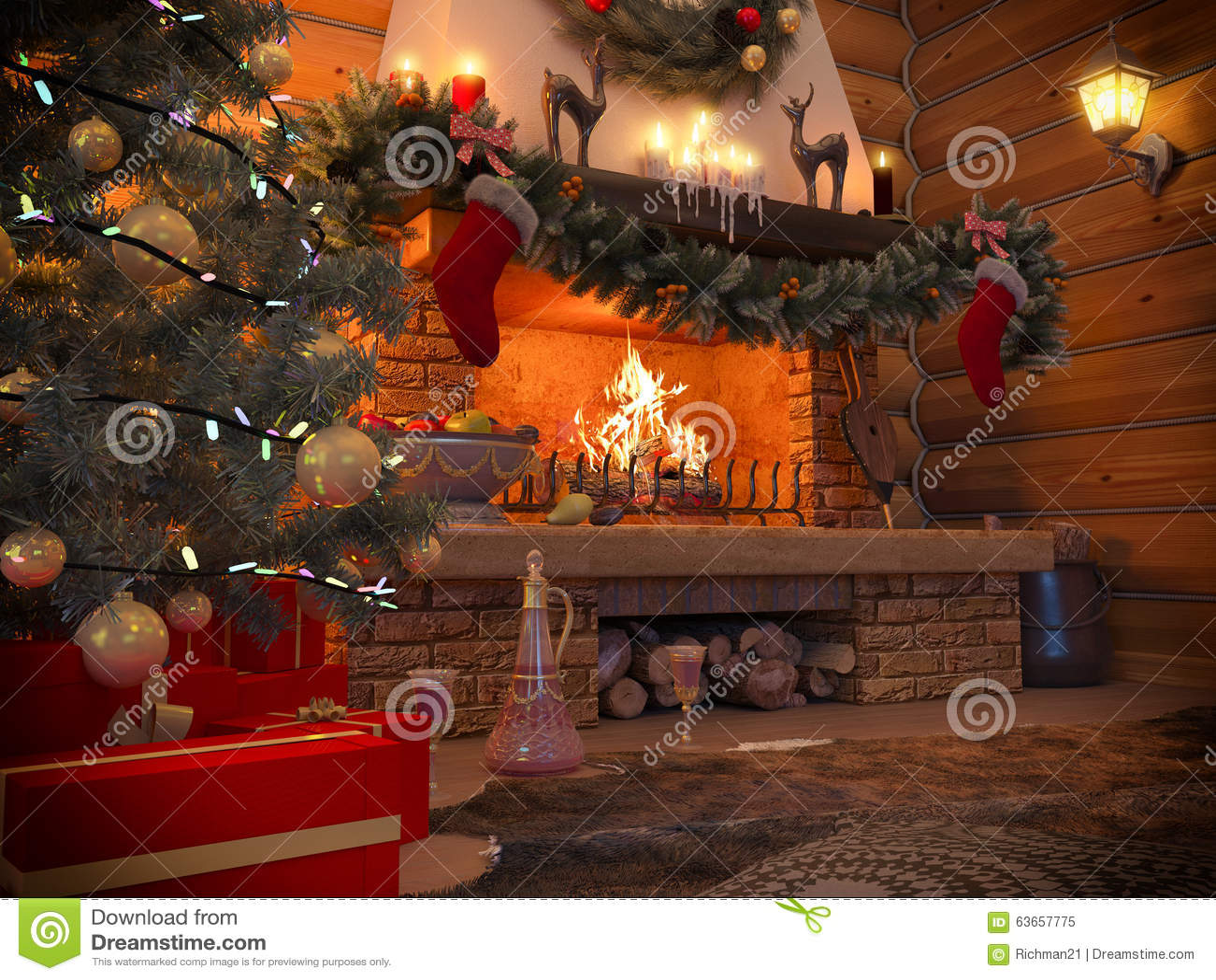 Interior del Año Nuevo del ejemplo 3D con el árbol de navidad, presentes