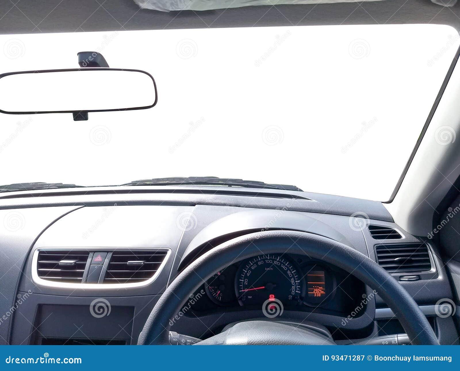 Interior del coche de la conducción a la derecha, espejo de la vista delantera