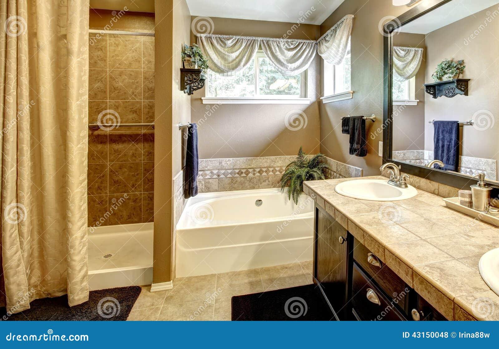 Interior del cuarto de ba o con la tina y la ducha de ba o for Banos con ducha y tina