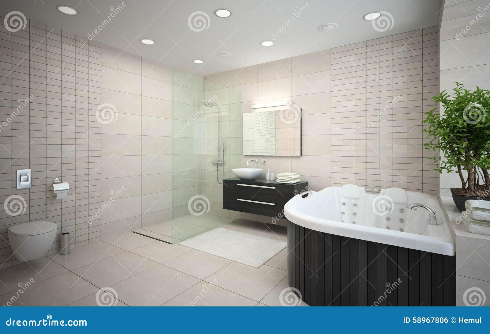 interior del cuarto de baño del diseño moderno stock de