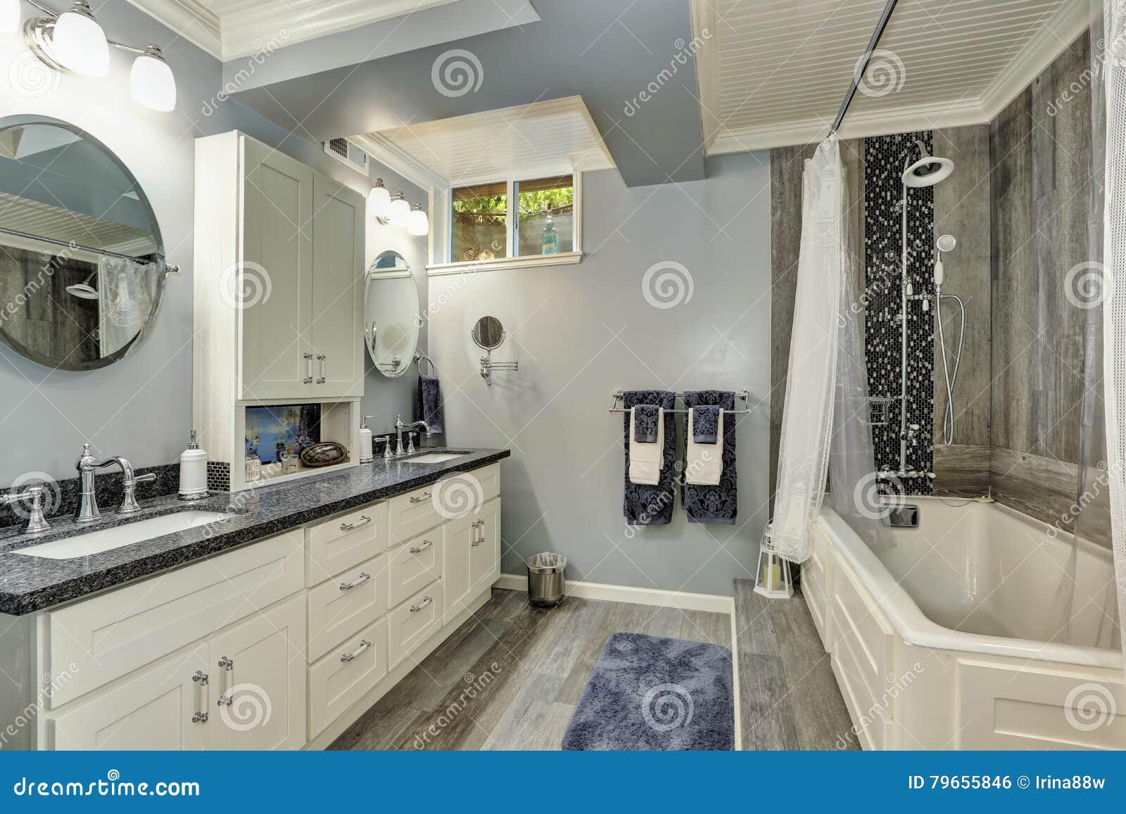 Interior Del Cuarto De Baño Del Sótano En Tonos Grises Y Blancos ...