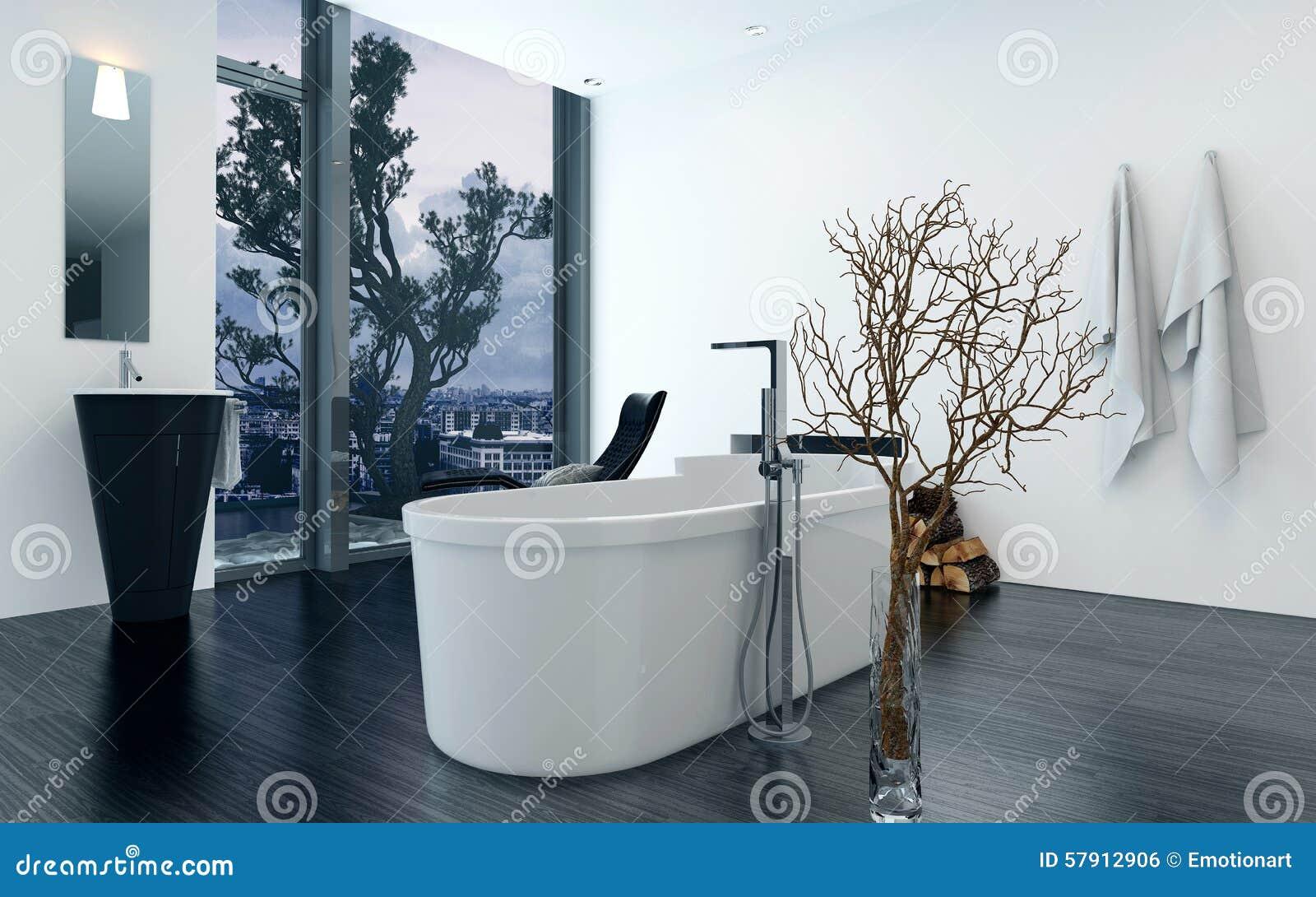 Interior Del Cuarto De Baño Del Diseño Moderno Con La Bañera Foto de ...