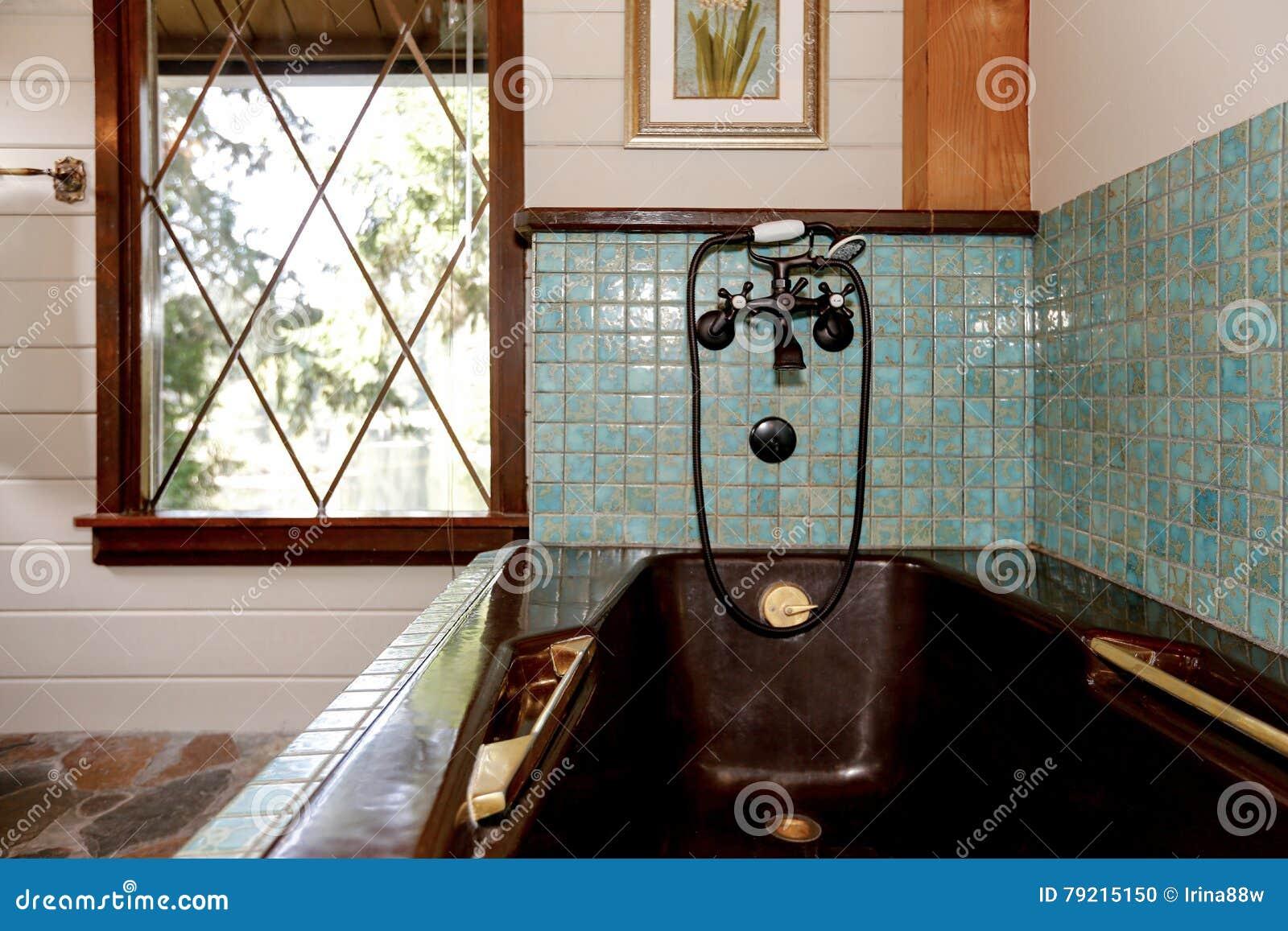 Interior del cuarto de baño en una cabina de madera lujosa