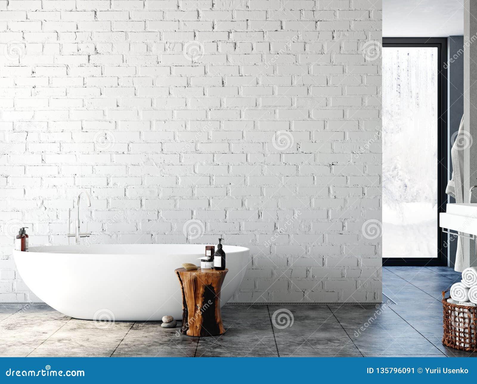 Interior Del Cuarto De Baño Maqueta De La Pared Arte De La ...