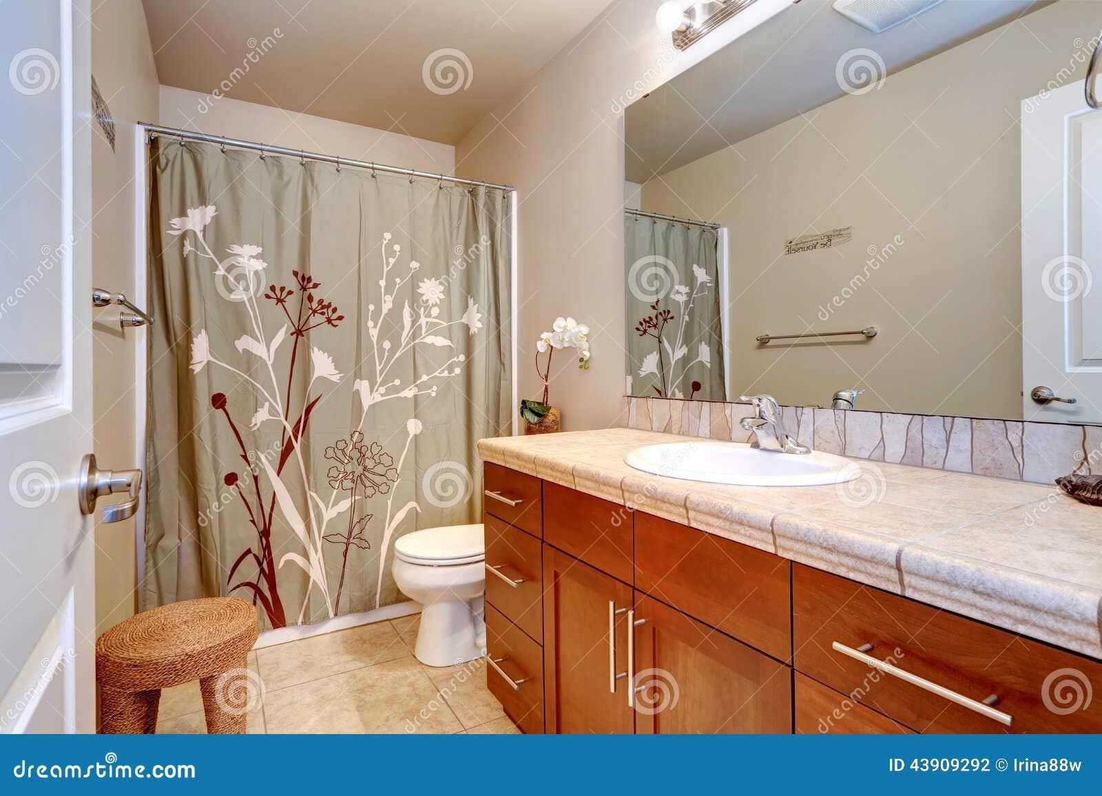 Interior del cuarto de ba o con el espejo grande foto de for Cuartos de bano grandes