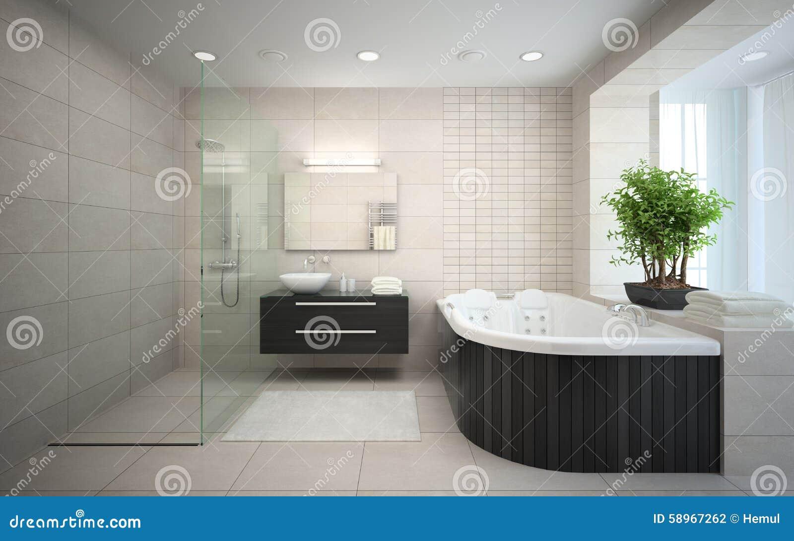 Interior del cuarto de ba o del dise o moderno con el - Diseno de cuartos de banos modernos ...