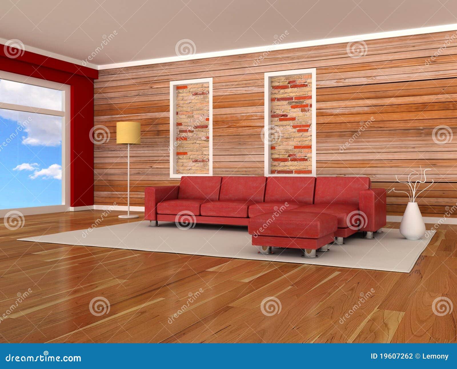 Interior Del Cuarto Moderno, Pared De Madera, Sofá Rojo Stock de ...