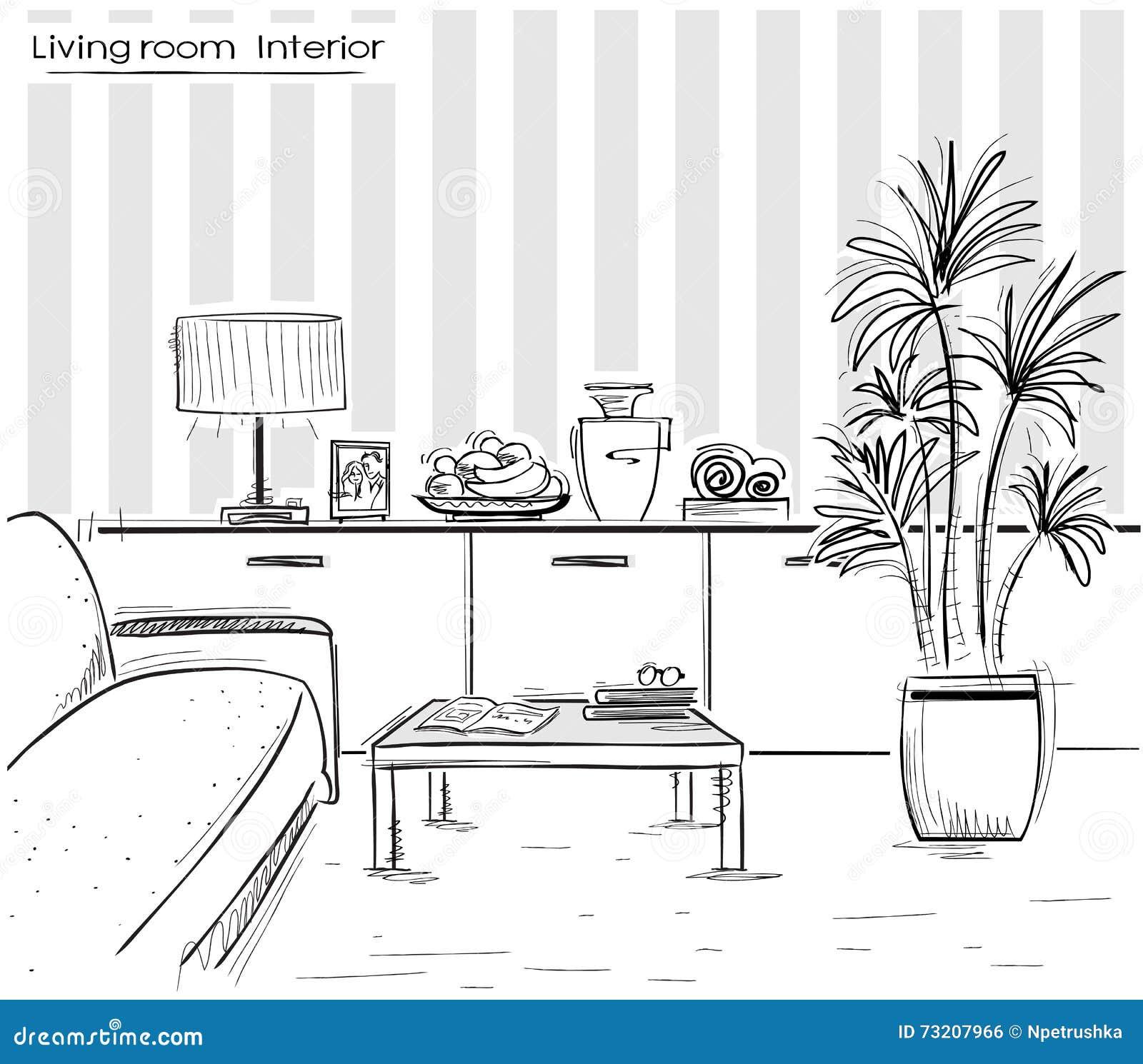 Interior del dise o de la sala de estar illust del dibujo for Sala de estar dibujo