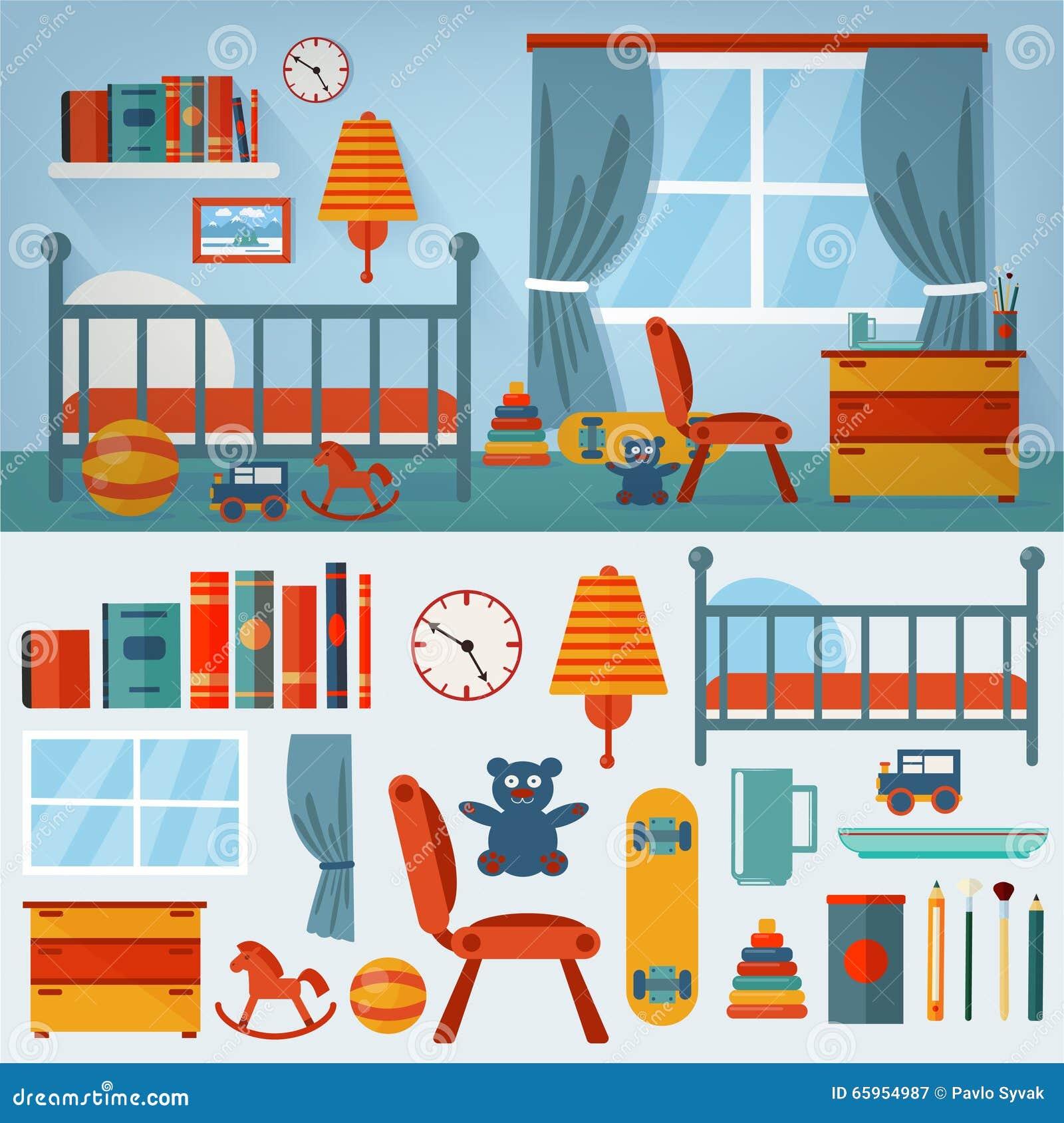 Interior Del Dormitorio De Los Ni Os Con Muebles Y El Sistema De  # Muebles Juguetes Ninos
