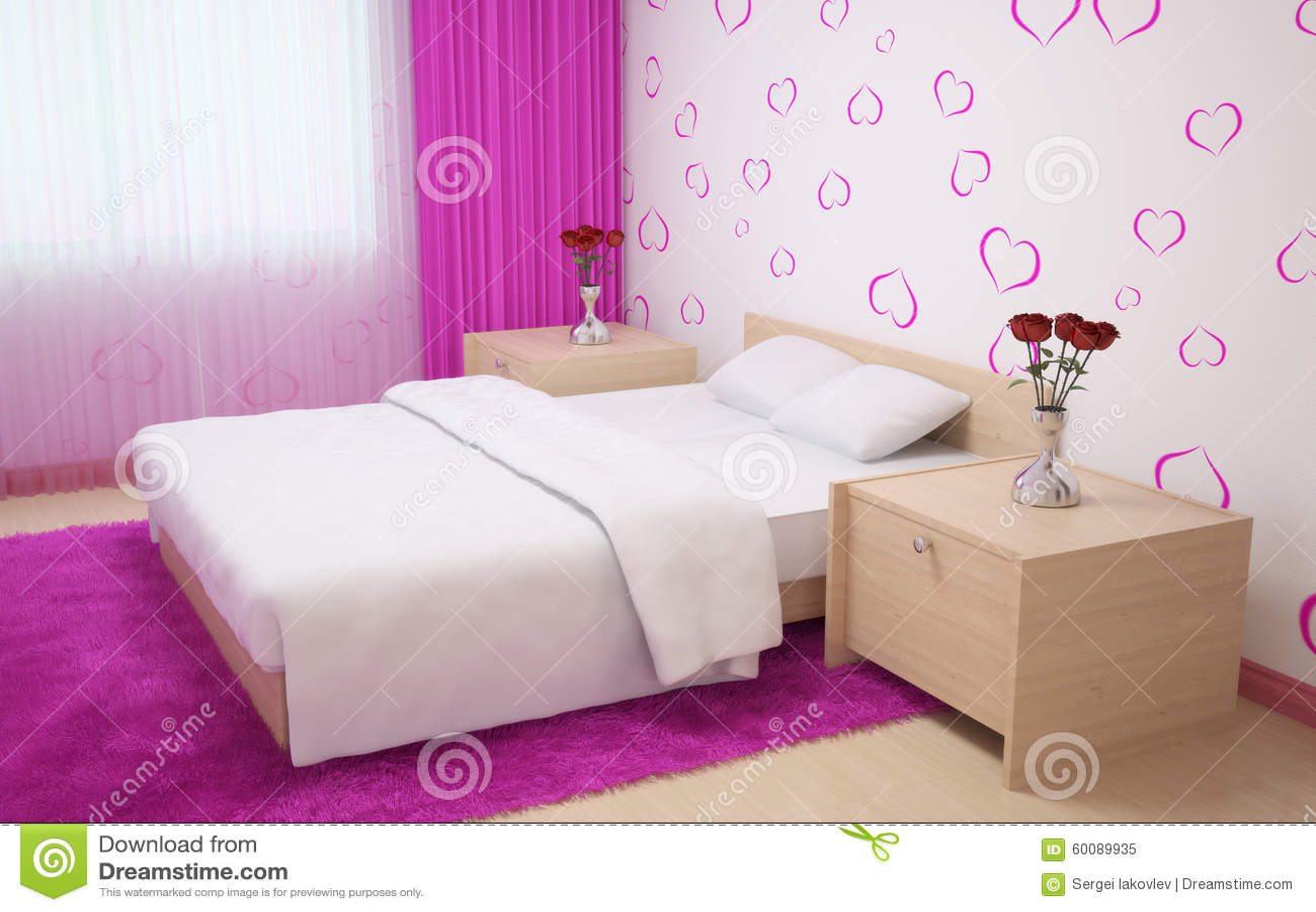 Interior Del Dormitorio Hecho En Colores Claros Con El Mobiliario De ...