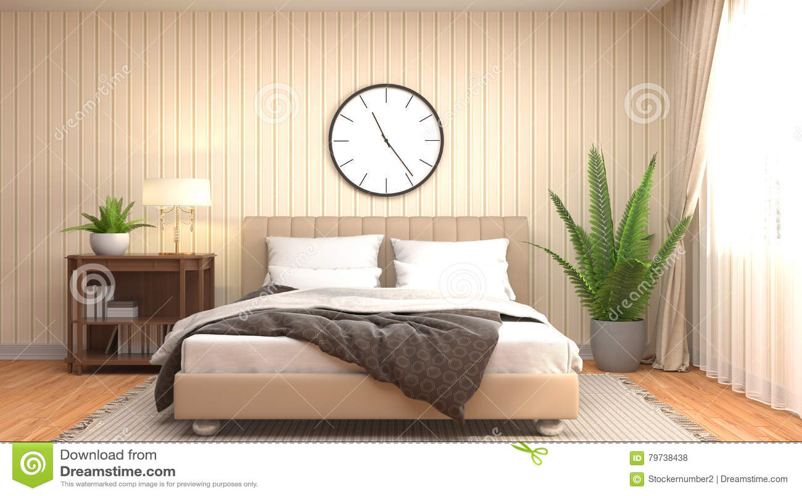 Interior del dormitorio ilustración 3D