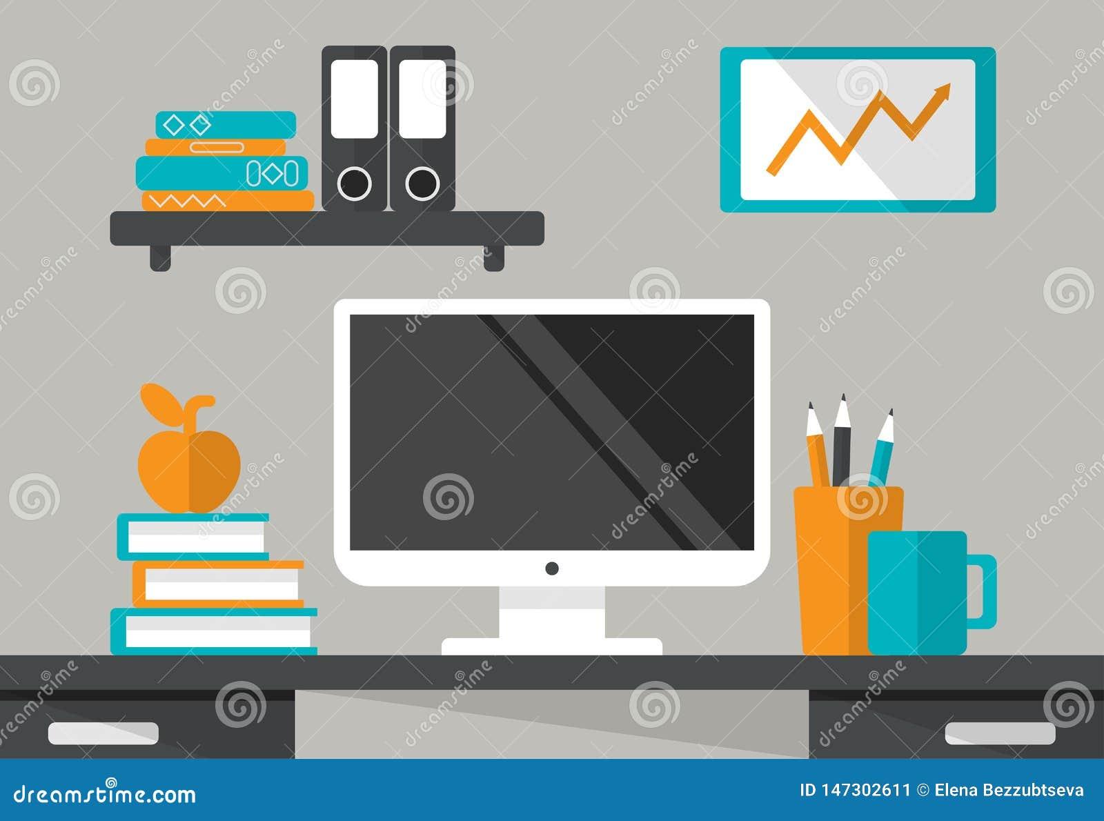 Interior del lugar de trabajo Escritorio con el monitor, estante, libros