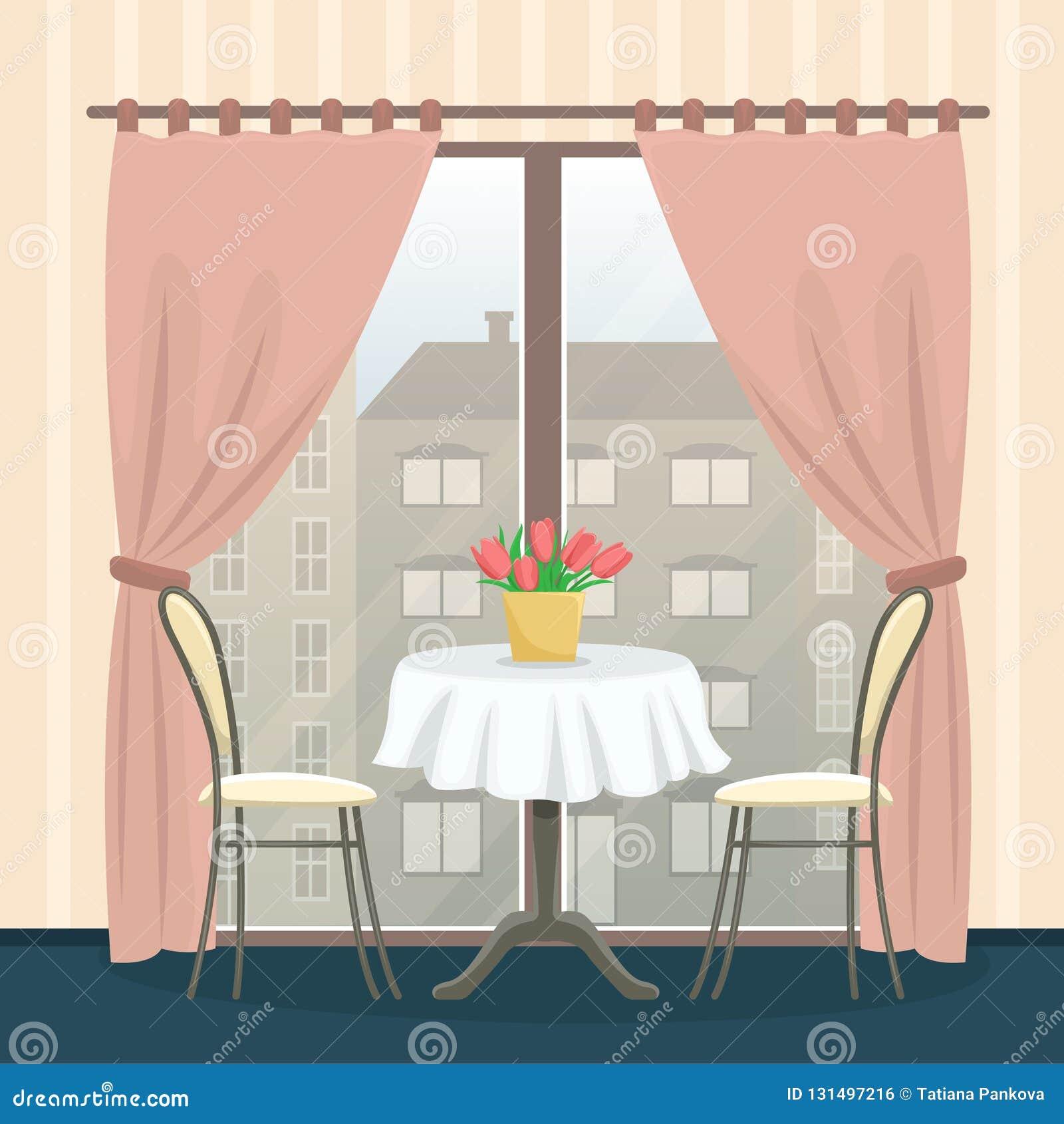 Interior del restaurante en estilo clásico Tabla con las sillas cerca de la ventana panorámica