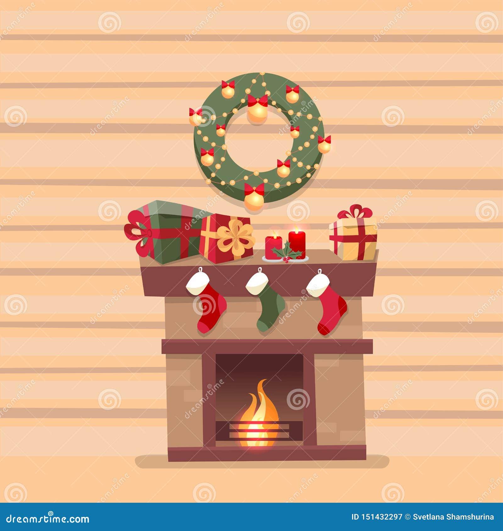 Interior del sitio con la chimenea de la Navidad con los calcetines, las decoraciones, las cajas de regalo, los candeles, los cal
