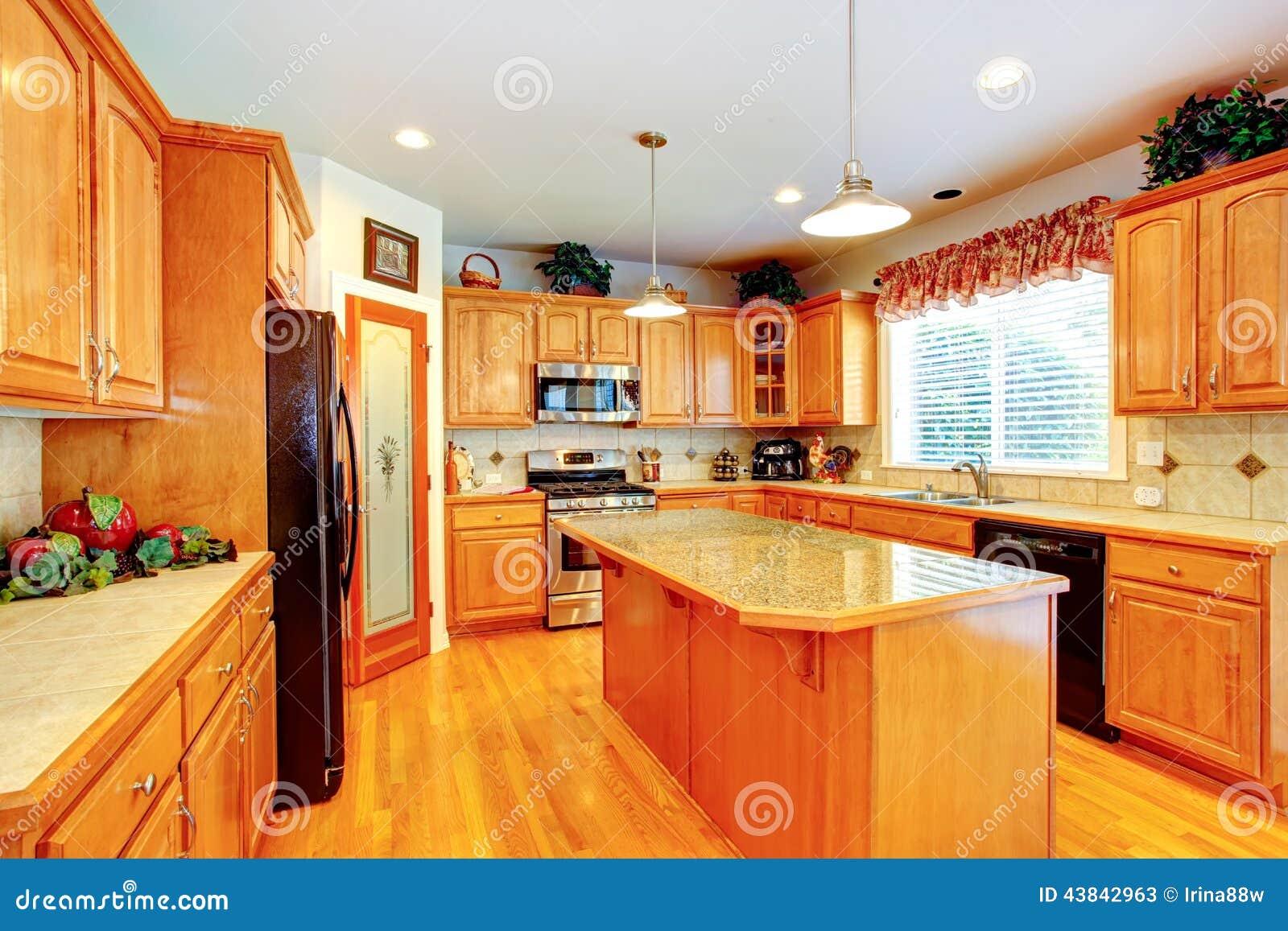 Interior del sitio de la cocina con la isla en casa de for La cocina en casa