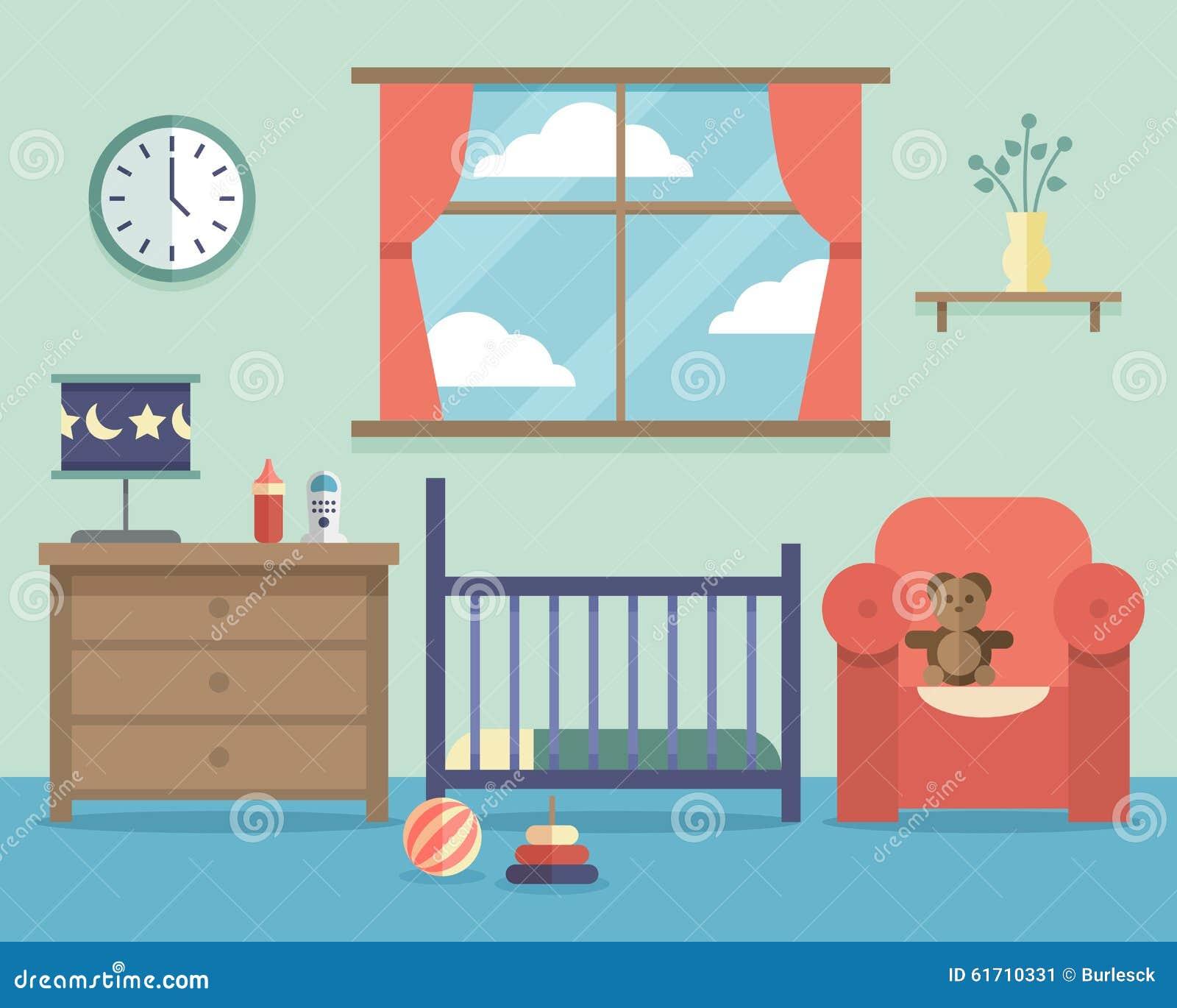 Interior Del Sitio Del Bebé Del Cuarto De Niños Con Muebles En Plano ...