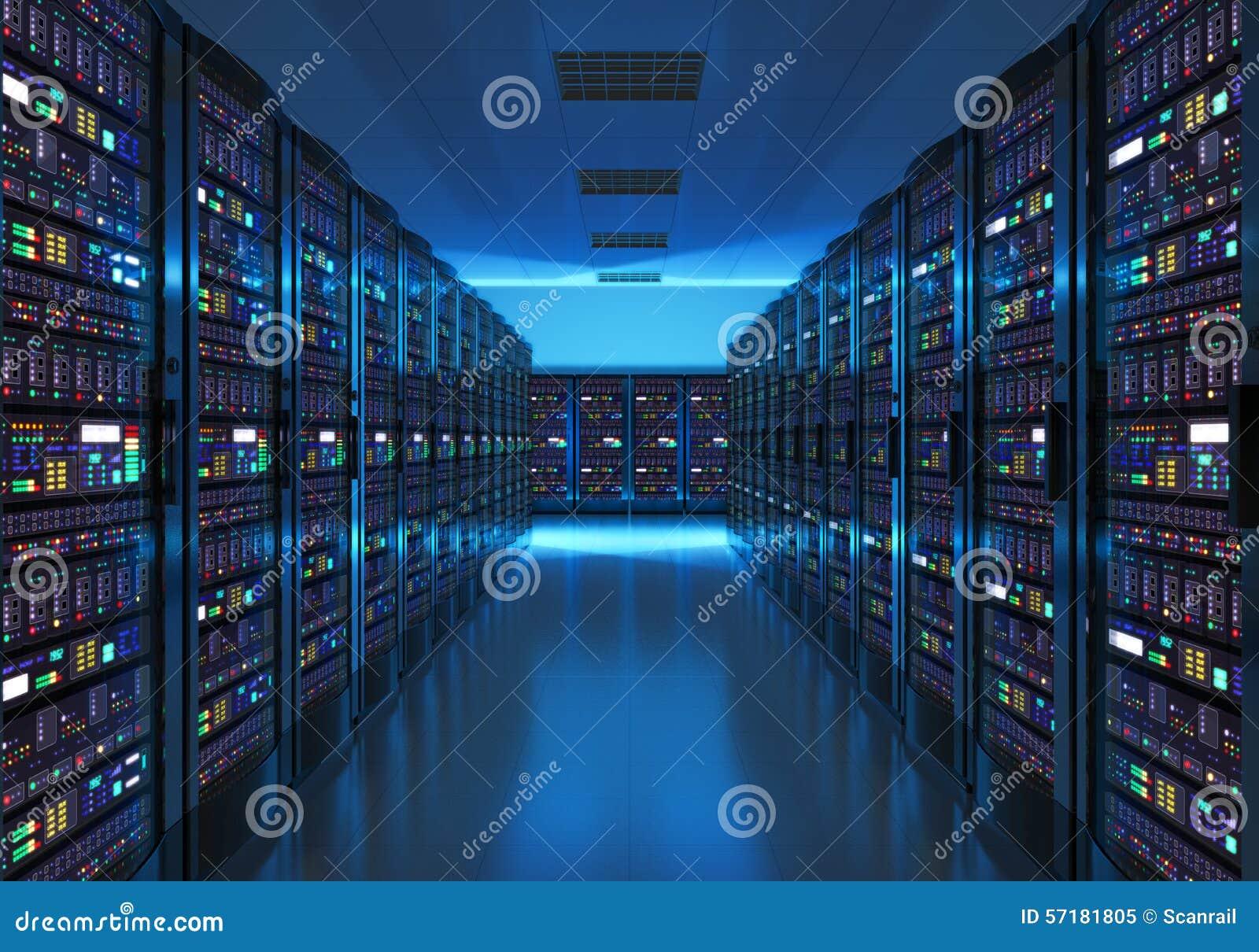 Interior del sitio del servidor en datacenter
