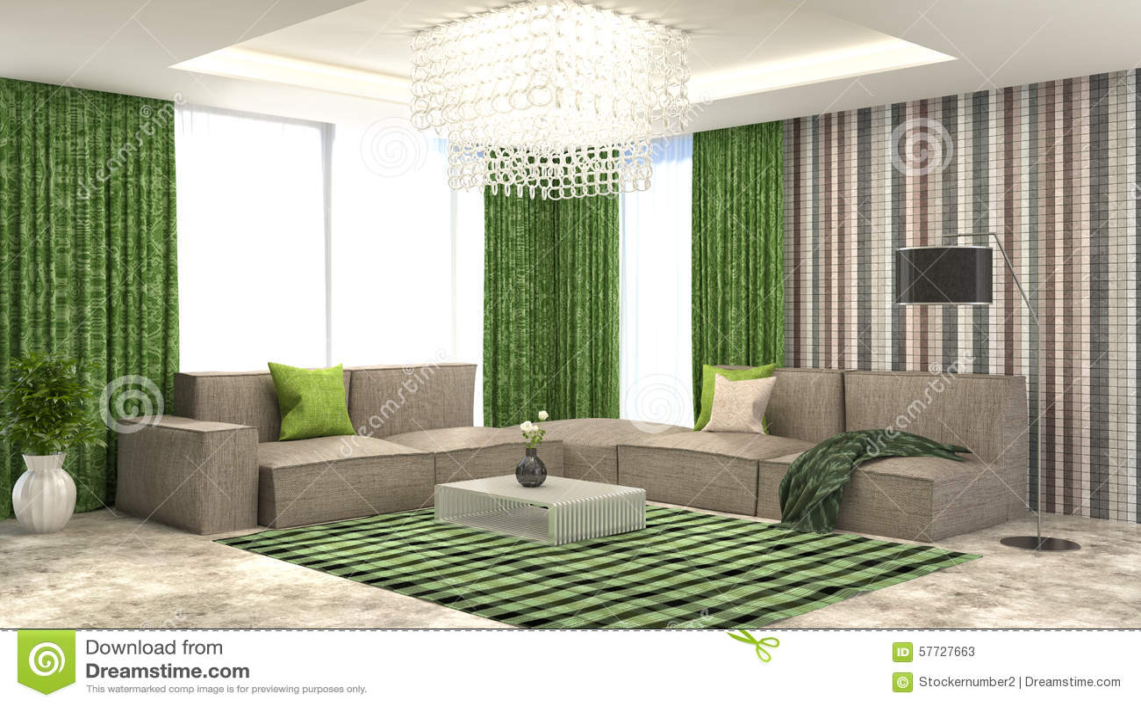 interior del verde con el sof y las cortinas rojas ilustracin d stock de ilustracin
