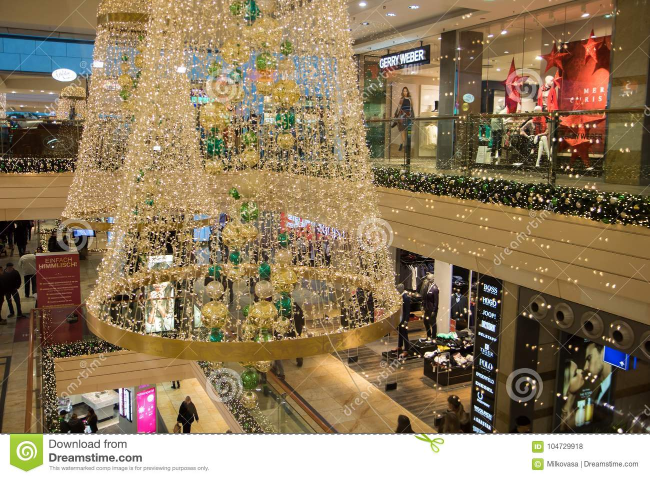 interior of a department store with christmas decoration