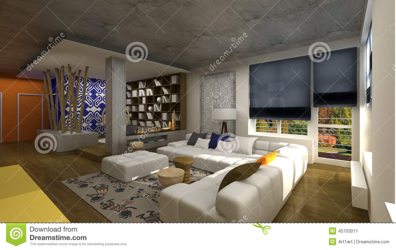 Interior Design In African Style Stock Illustration Illustration