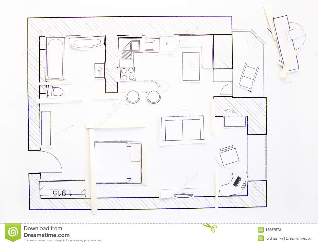 Interior design apartments top view stock image image for Top view design