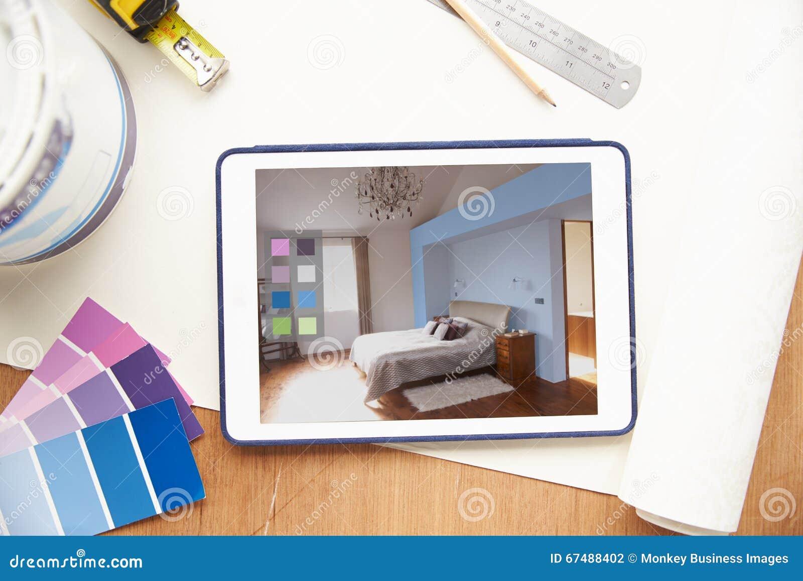 Interior Design Application On Digital Tablet Stock Image 67488673