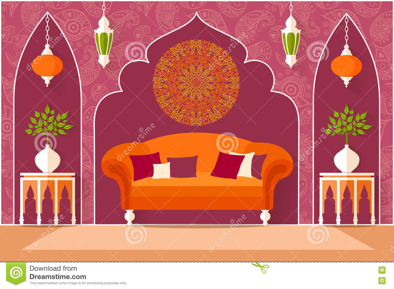 Interior Design In The Arab Style Vector Illustration Stock Vector Image 74376967