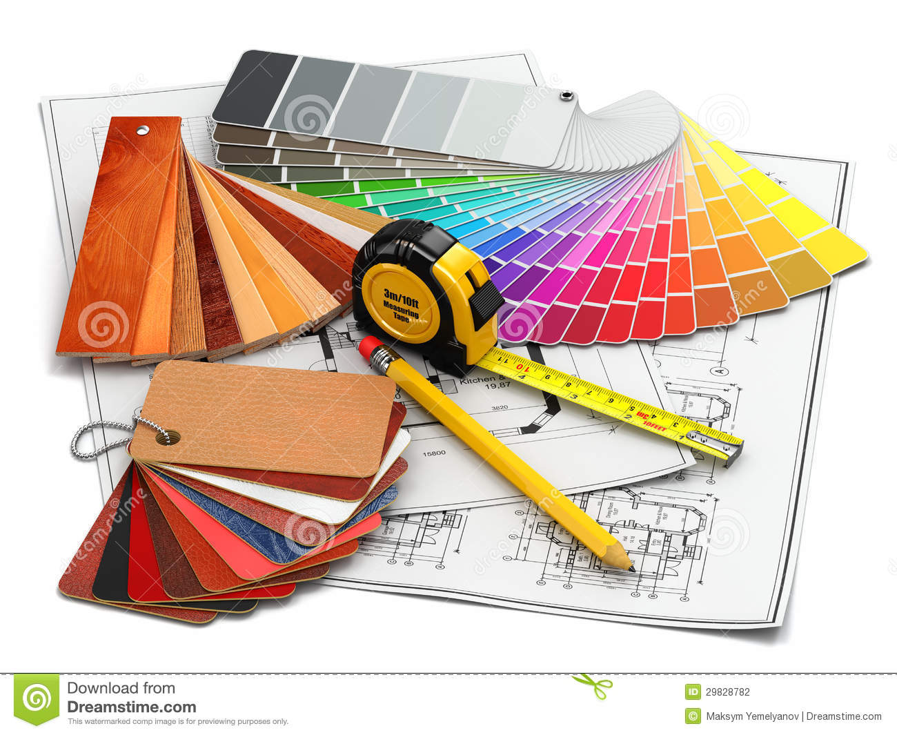 Interior design architectural materials tools and Building design tool