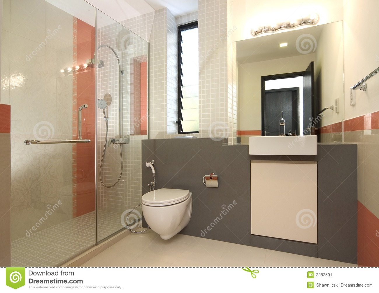 Interior design bathroom stock image image of light for Small toilet interior design